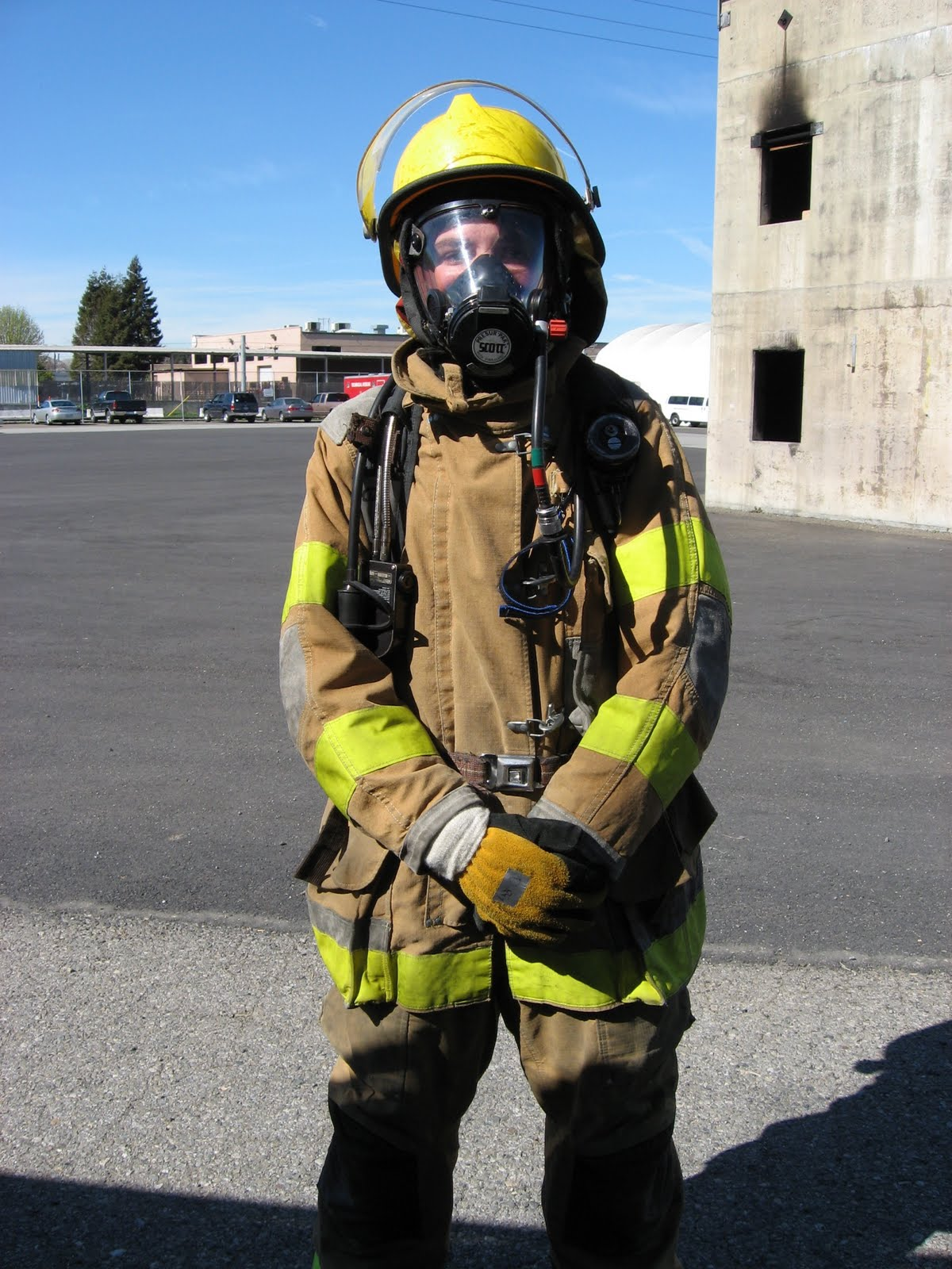 Me dressed up in full firefighter gear